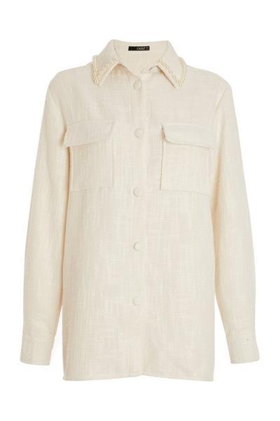 Cream Tweed Shacket