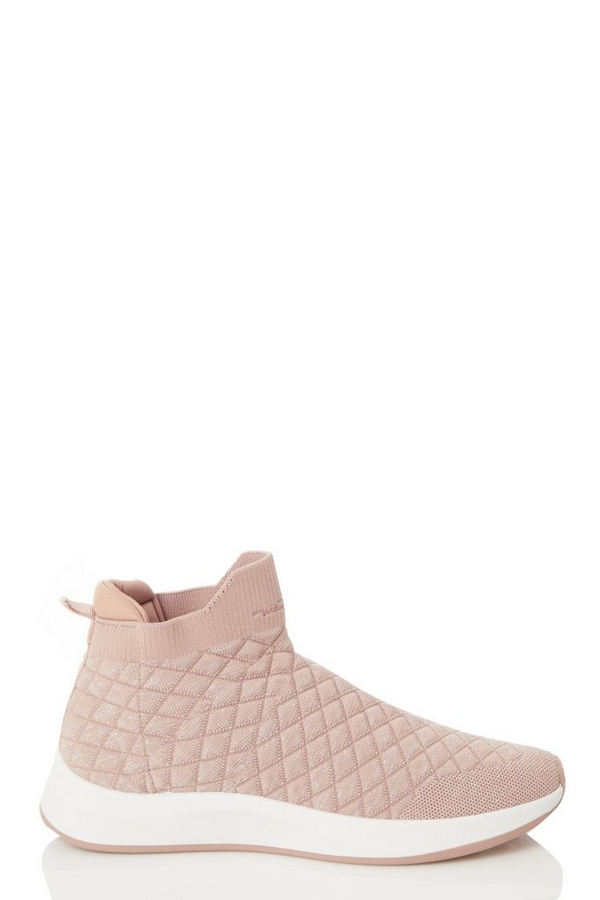 Pink Quilted Knit Trainer