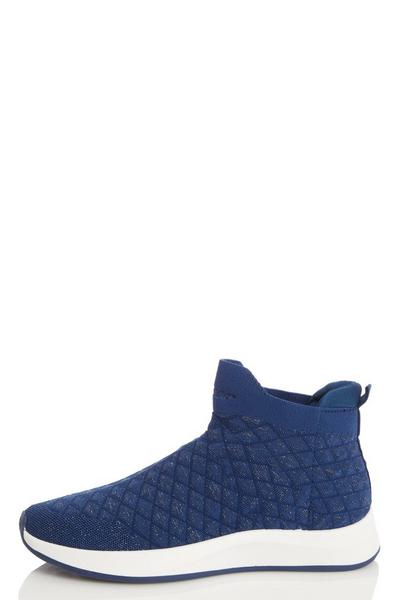 Navy Quilted Knit Trainer