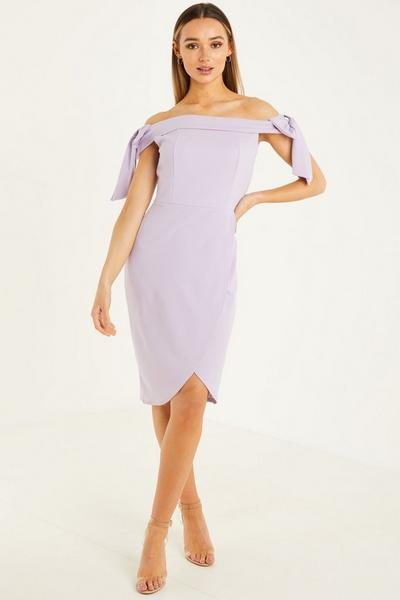 Lilac Front Wrap Midi Dress