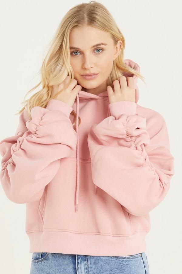 Pink Ruched Sleeve Hoodie