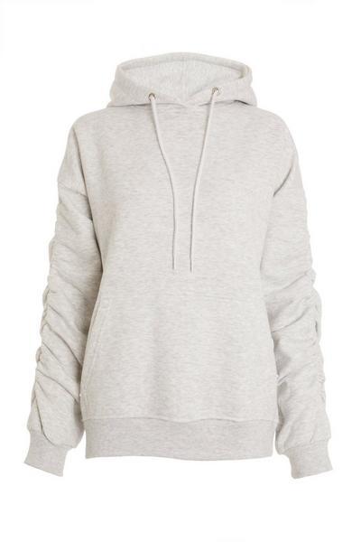 Grey Ruched Sleeve Hoodie
