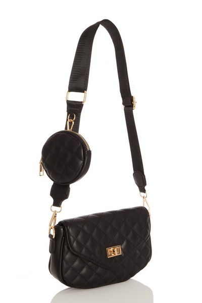 Black Faux Leather Quilted Bag