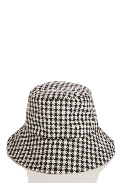 Black Dog Tooth Bucket Hat