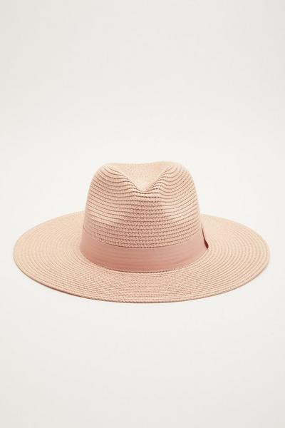 Pink Straw Fedora Hat