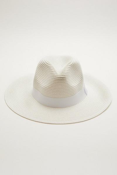 White Straw Fedora Hat