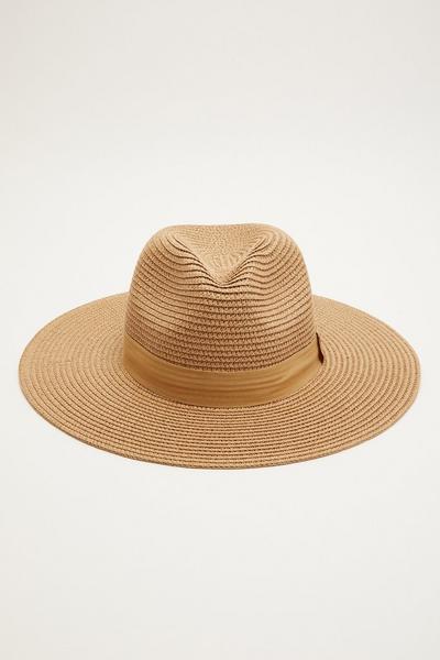 Tan Straw Fedora Hat