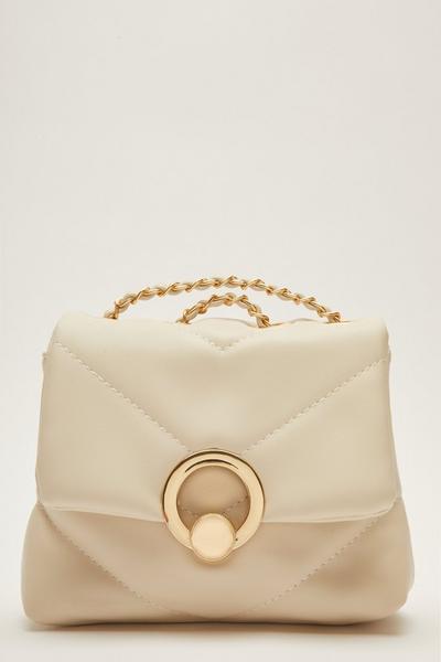 Cream Faux Leather Chain Bag