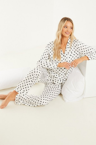White Polka Dot Long Pyjama Set