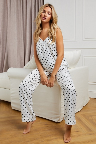 White Polka Dot Cami Pyjama Set