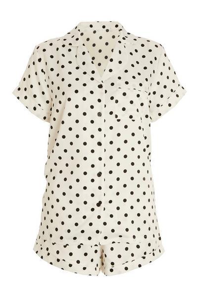 White Polka Dot Short Pyjama Set