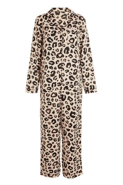 Pink Leopard Print Long Pyjama Set