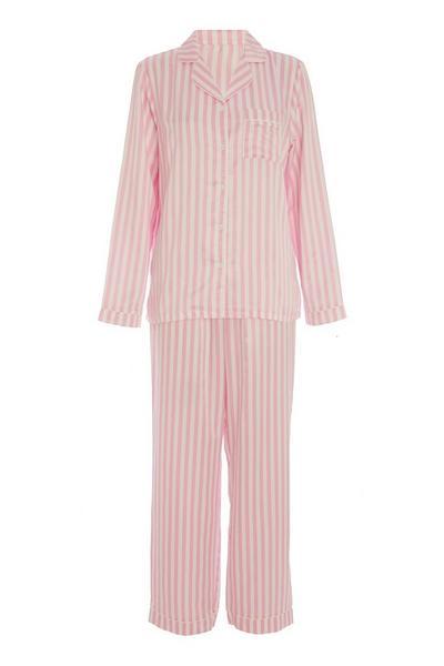 Pink Stripe Long Pyjama Set