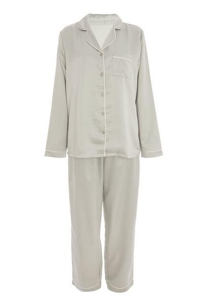 Sage Satin Long Pyjama Set