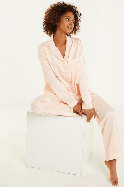 Pink Satin Long Pyjama Set