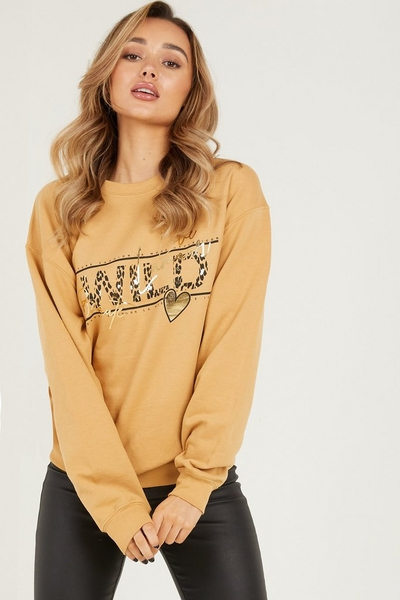 Camel Slogan Print Sweatshirt