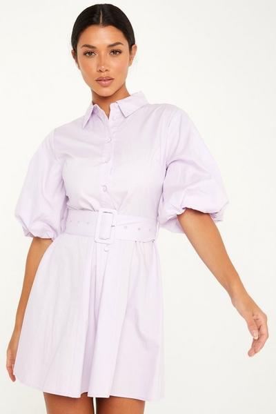 Lilac Puff Sleeve Shirt Dress