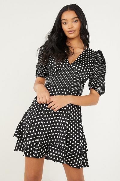 Black Satin Polka Dot Skater Dress