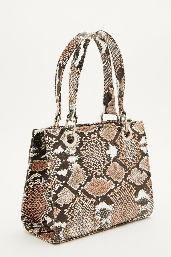 Brown Snake Print Mini Tote Bag
