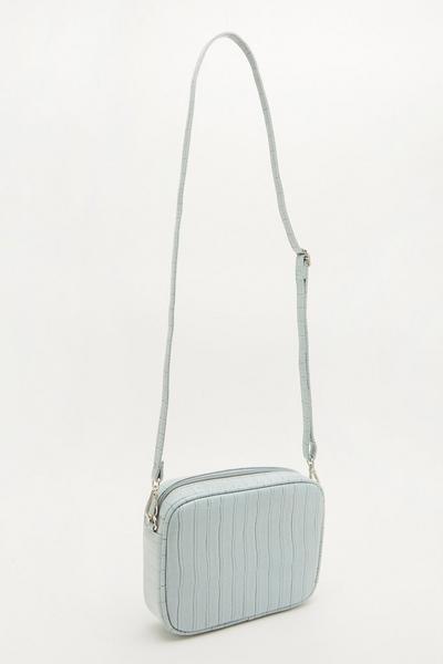 Blue Crocodile Cross Body Bag