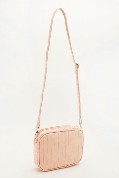 Pink Crocodile Cross Body Bag