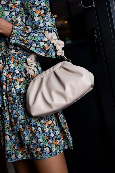 Nude Faux Leather Ruched Bag