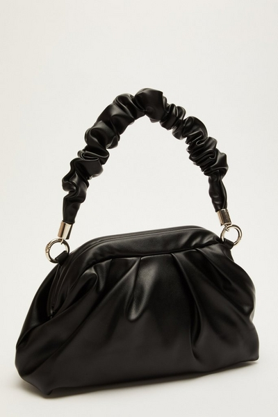 Black Faux Leather Ruched Bag