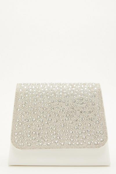White Satin Diamante Bag