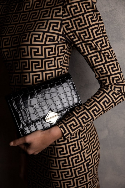 Black Patent Crocodile Bag