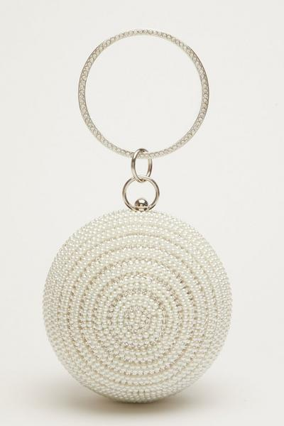 Bridal White Pearl Sphere Bag