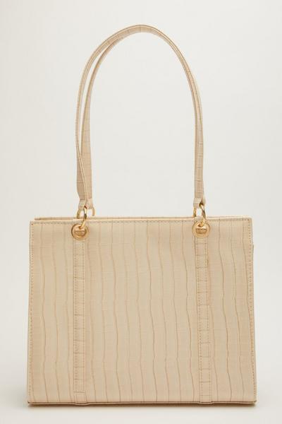 Nude Patent Crocodile Tote Bag