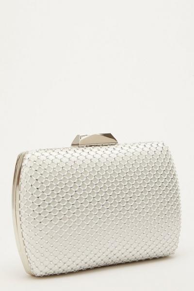 Bridal White Diamante Bag