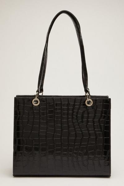 Black Patent Crocodile Tote Bag