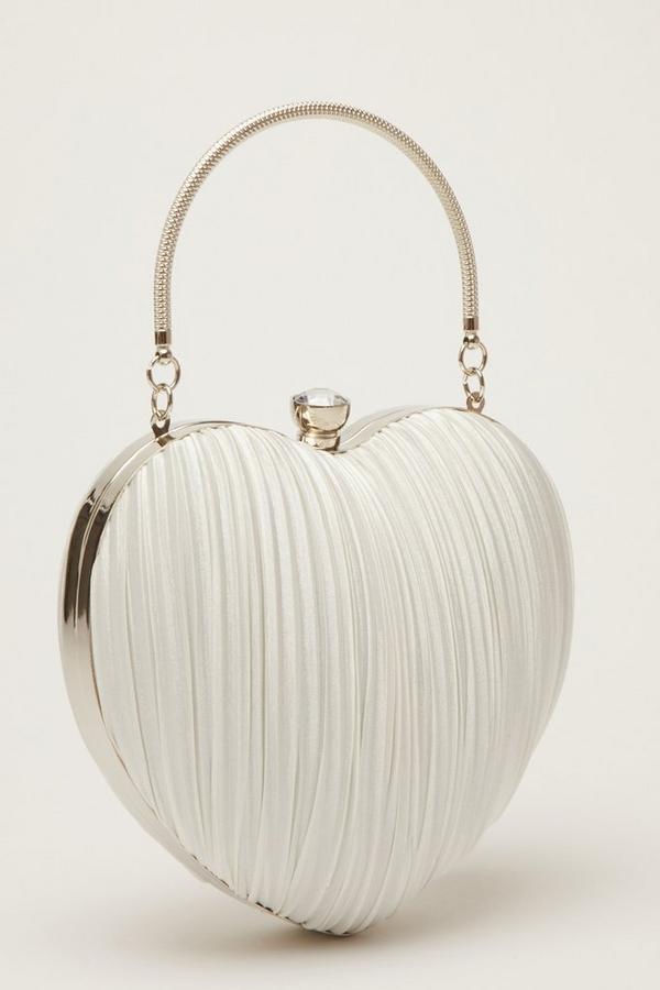 Bridal White Satin Heart Bag