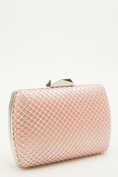 Pink Satin Diamante Box Bag