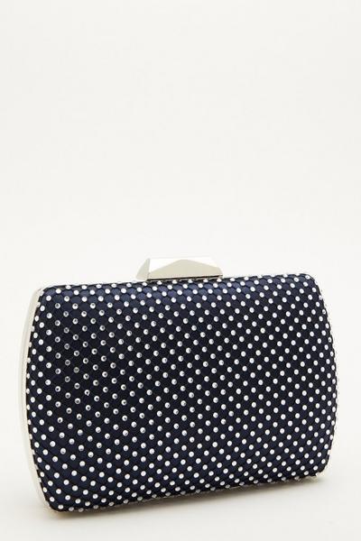 Navy Satin Diamante Box Bag