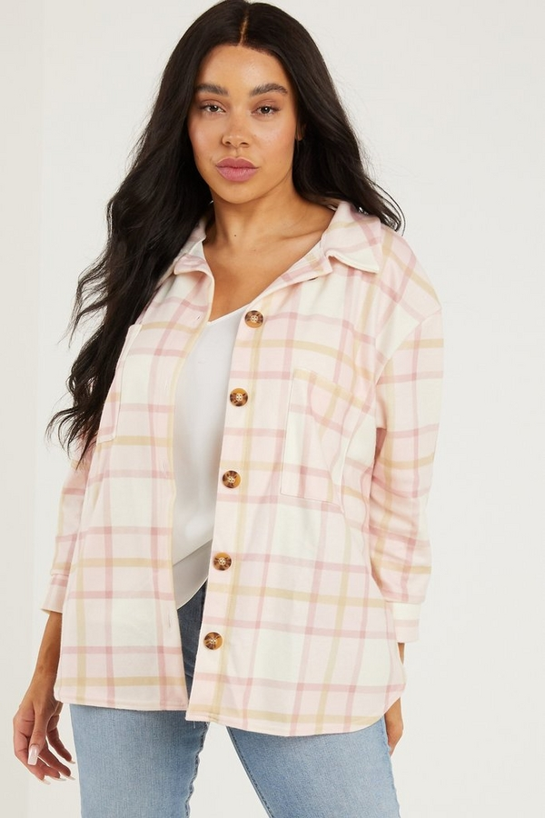 Curve Pink Checked Shacket