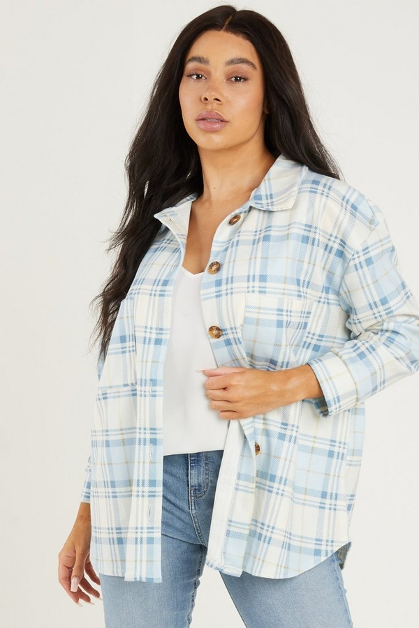 Curve Blue Checked Shacket