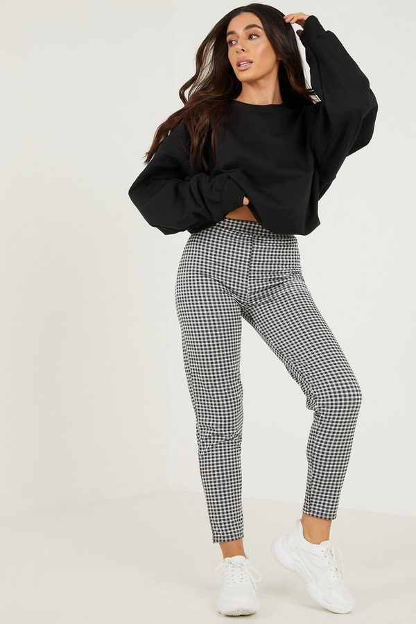Petite Black Gingham Trousers