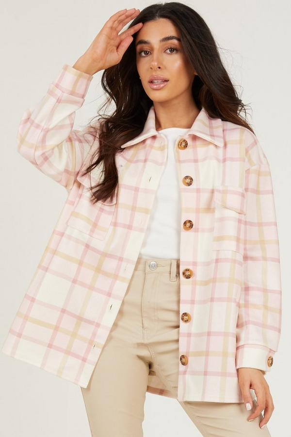 Petite Pink Checked Shacket