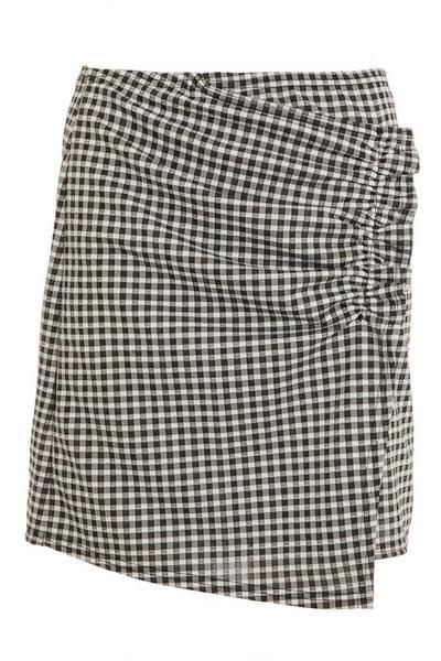 Black Gingham Wrap Skirt