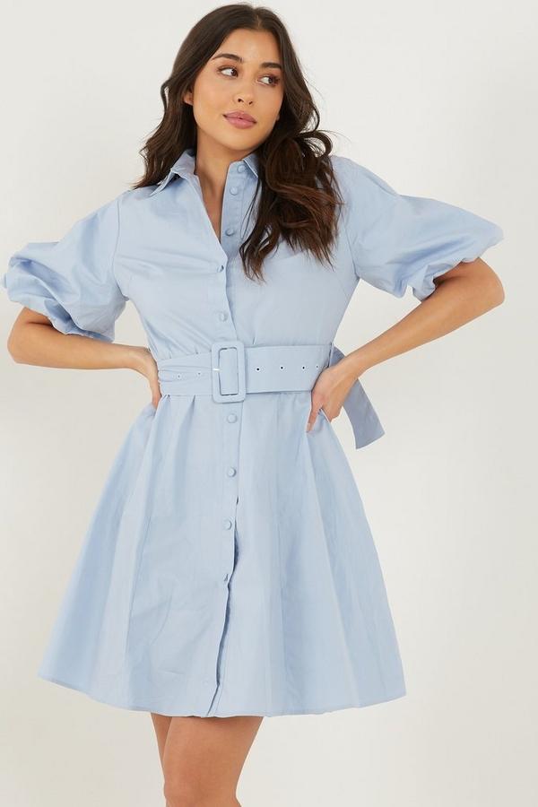 Pale Blue Puff Sleeve Shirt Dress