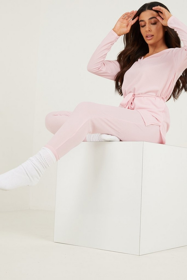 Petite Pink Ribbed Trousers