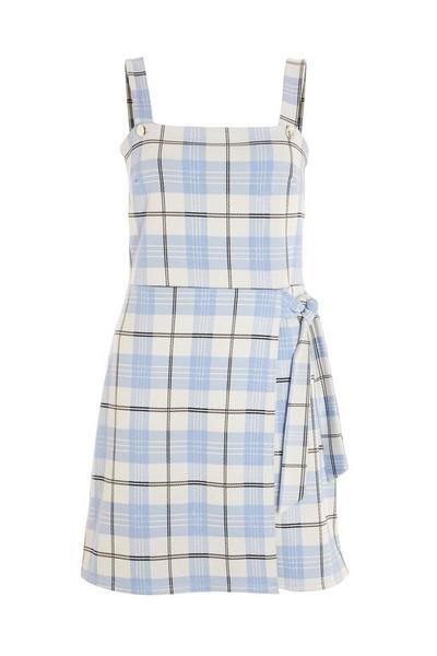 Blue Check Pinafore Dress