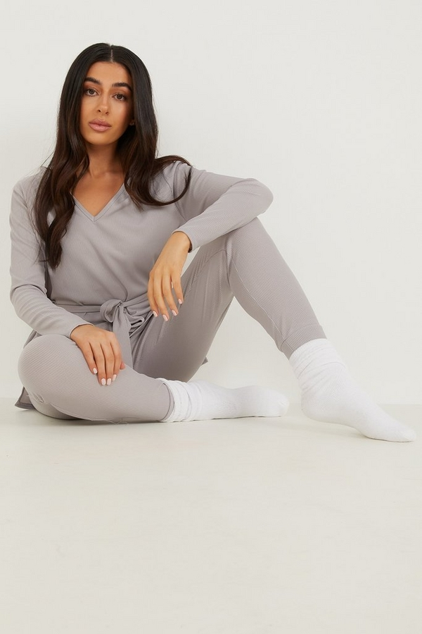 Petite Grey Ribbed Trousers