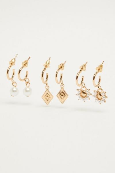 Gold Drop Hoop Earring Set