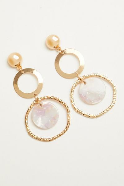 Gold Circle Drop Earring