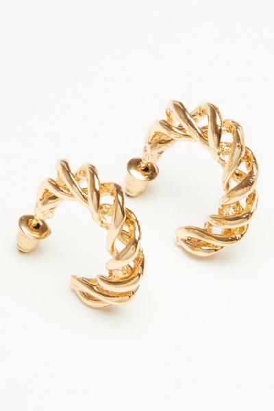 Gold Twist Hoop Earring
