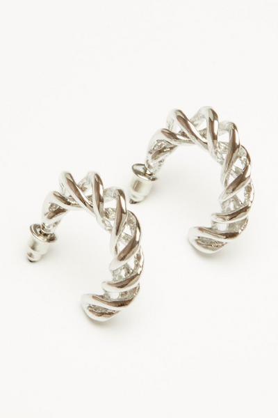 Silver Twist Hoop Earring