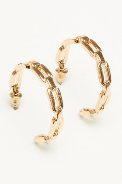 Gold Chain Hoop Earring